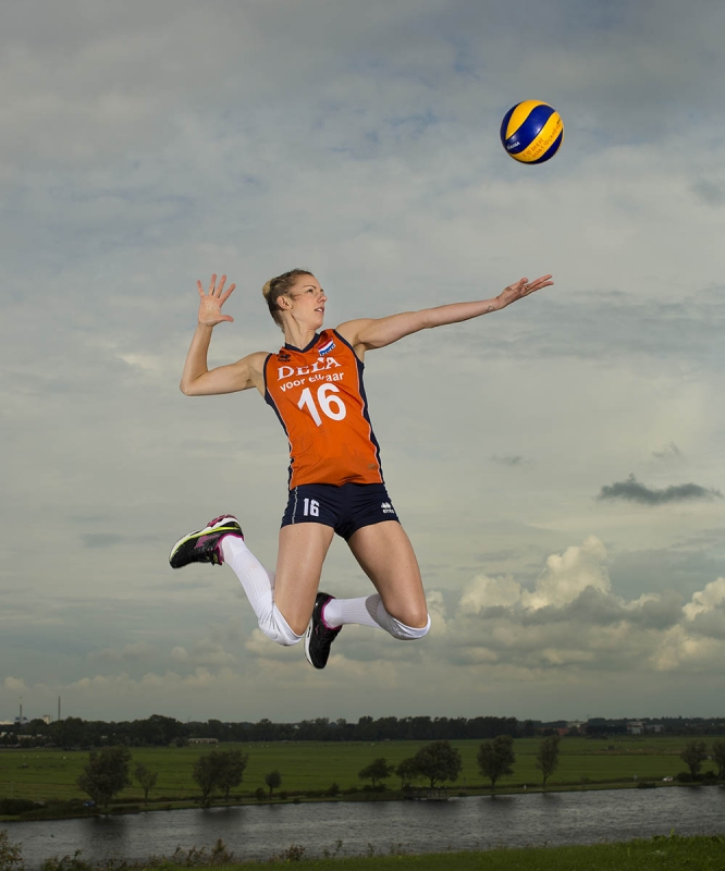 Volleybal speelster Debby Stam Pilon